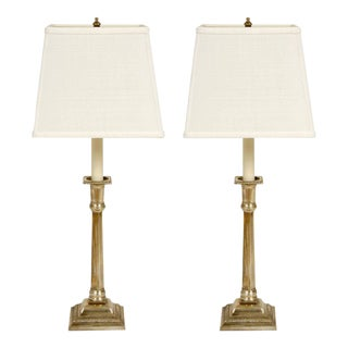 Pair of Silver Plate Candlestick Lamps