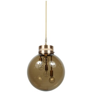 Large Smoked Globe Pendant Light For Sale
