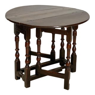 English Oak Drop Leaf Table Circa Early 18th Century For Sale