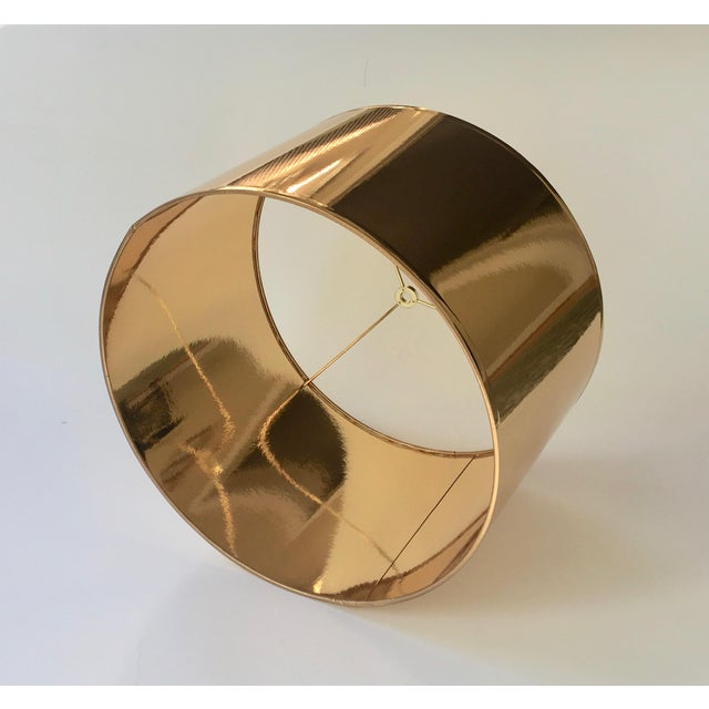 Contemporary Large Gold High Gloss Drum Lamp Shade For Sale - Image 3 of 6