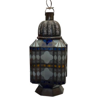 1970s Large Moroccan Glass Lantern For Sale