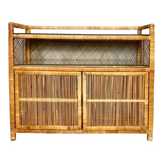 Vintage Mid Century Modern Wrapped Rattan Storage Cabinet For Sale