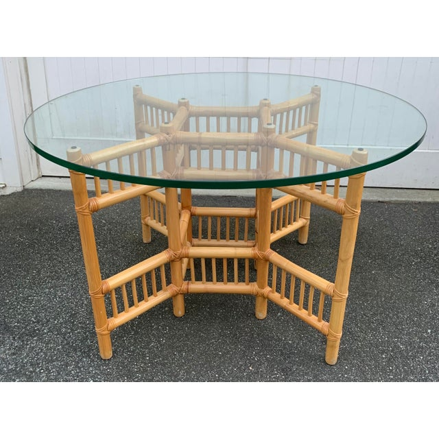 Boho Chic Willow and Reed Bamboo and Glass Round Dining Table For Sale - Image 3 of 11