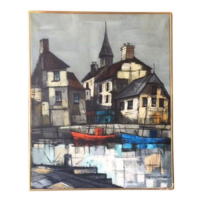 Mid Century Port Scape Oil Painting by M Edward Griff For Sale