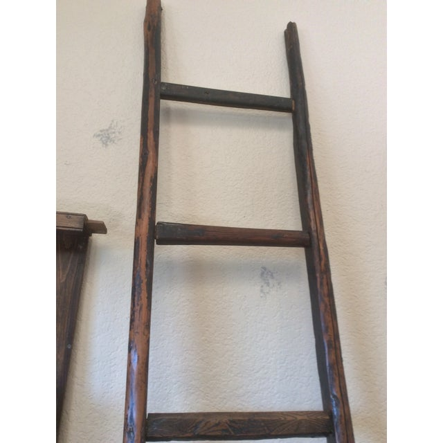 Asian Tall Wooden Asian Ladder For Sale - Image 3 of 6