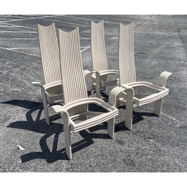 Vintage Coastal Pretzel Rattan Dining Chairs After McGuire For Sale - Image 10 of 11