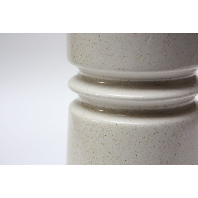 """1960s tall vase (12"""" H x 5"""" Diameter) designed by artist, """"Esther"""" for Lapid Pottery Works in Tel Aviv, Israel. Composed..."""