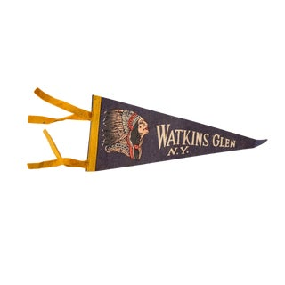 Vintage Watkins Glen Ny Felt Flag Pennant For Sale