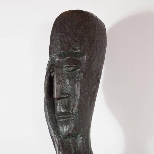 1970s Signed Mid Century Modern Large Scale Patinated Bronze Sculpture For Sale - Image 5 of 10