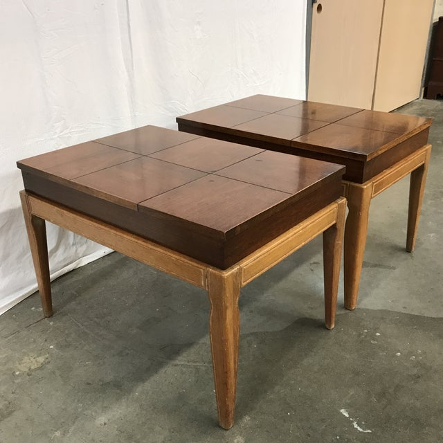 John Van Koert for Drexel side tables with walnut block parquetry top that flips up to reveal a storage area for remotes,...