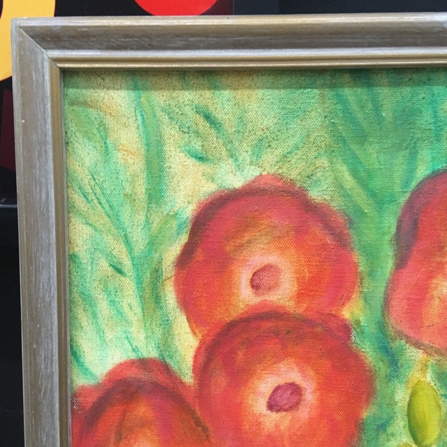 Boho Chic Vintage Poppies Painting on Canvas For Sale - Image 3 of 8