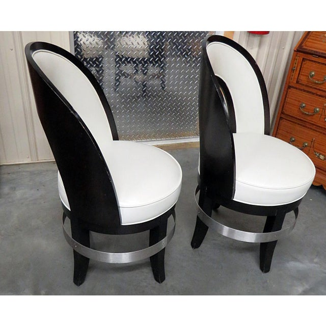 Mid-Century Modern Swiveling Club Chairs - a Pair For Sale - Image 4 of 7