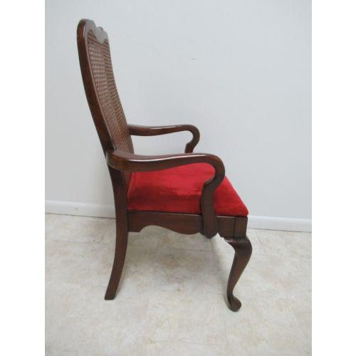 Caning Vintage Thomasville Solid Cherry Queen Anne Caned Chair For Sale - Image 7 of 11