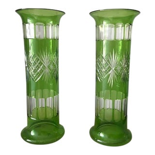 Green Cut Glass Vases - a Pair For Sale