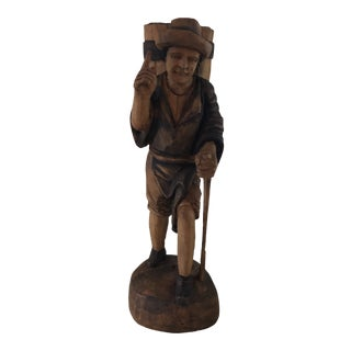Vintage French Imported Hand Carved Wood Statue For Sale