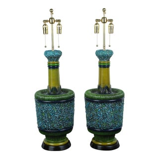 Psychedelic Ceramic Glaze Lamps by Pieri Tullio - a Pair For Sale