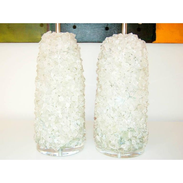 Animal Skin Glass Rock Table Lamps by Swank Lighting White Ice For Sale - Image 7 of 10