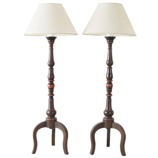 Pair of Spanish Colonial Style Wooden Candlestick Floor Lamps For Sale