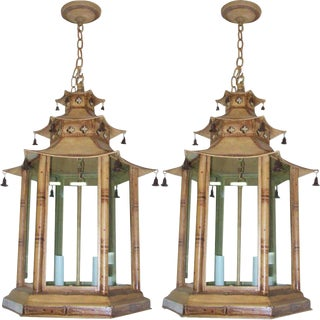 A pair of custom pagoda-shaped, hand-painted tole fixtures For Sale