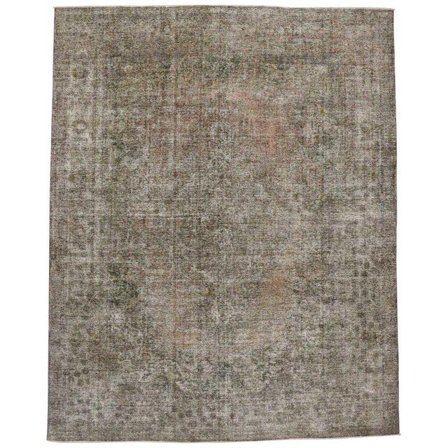 Mid 20th Century 20th Century Rustic Farmhouse Style Distressed Persian Tabriz Area Rug For Sale - Image 5 of 5
