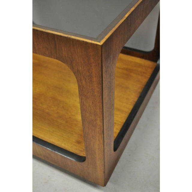 Brown Mid Century Modern Lane Walnut Smoked Glass Modernist End Tables - a Pair For Sale - Image 8 of 12