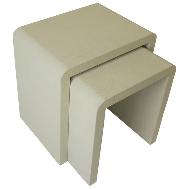 Shagreen-Esque Nesting Tables With Waterfall Edge For Sale
