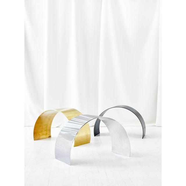 Contemporary Arc Stool by Ash Nyc in Brass For Sale - Image 3 of 10