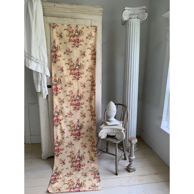 Shabby Chic Vintage French Shabby Chic Roses Pattern Curtain For Sale - Image 3 of 10