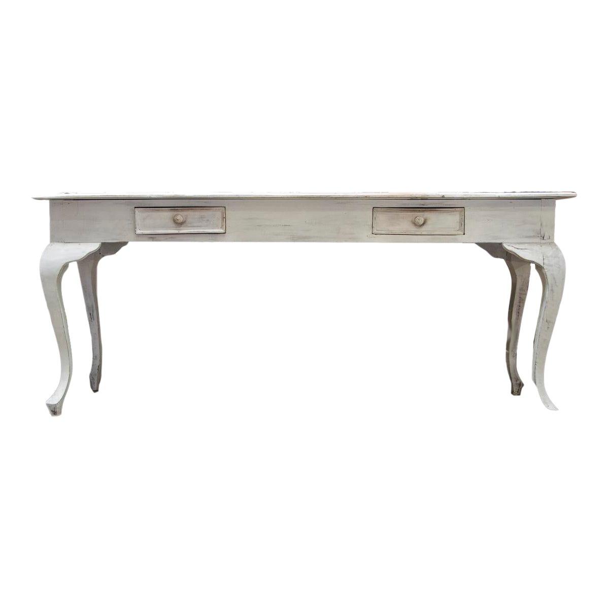 Whitewashed Narrow Table Desk