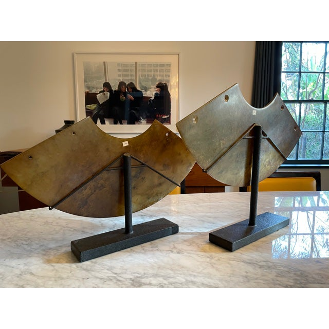 Modern Vintage Architectural Sculptural Decor on Iron Stands - Pair For Sale - Image 3 of 10