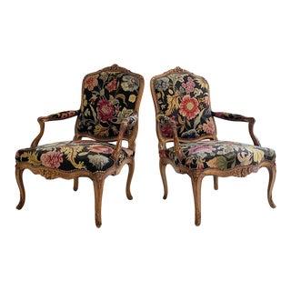 Antique 18th Century Provincial Louis XV Fauteuils, Pair For Sale