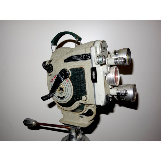 1956 Austrian Motion Picture Camera on Wood Tripod Vintage Perfect Display For Sale - Image 9 of 12