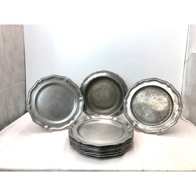 Metal Vintage Wilton Queen Anne Pewter Plates and Bowl - Set of 10 For Sale - Image 7 of 7