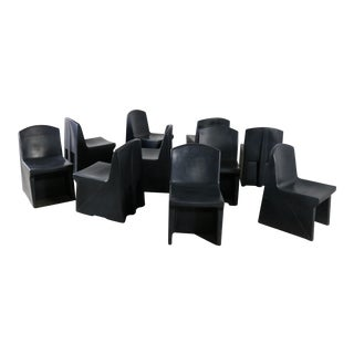 Norix Black Molded Plastic Side or Slipper Chairs - Set of 10 For Sale