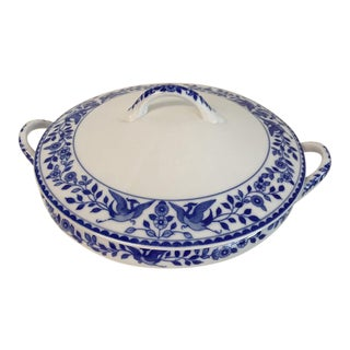 """1980s Nippon """"Royal Sometuke"""" Covered Dish With Lid For Sale"""
