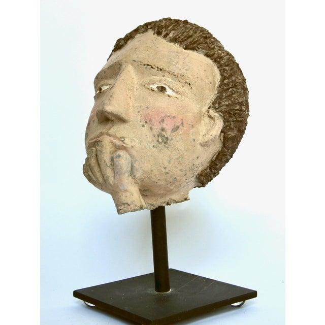 Concrete Americana Folk Sculpture Cement Head For Sale - Image 7 of 7