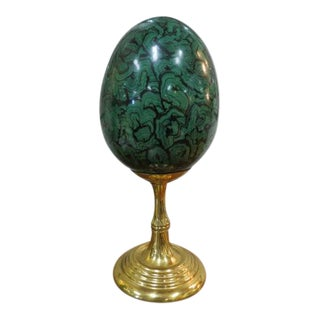 Vintage Maitland Smith Malachite-Design Egg & Stand For Sale