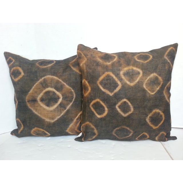 African Gray Tie Dye Kuba Cloth Pillows - A Pair - Image 2 of 5