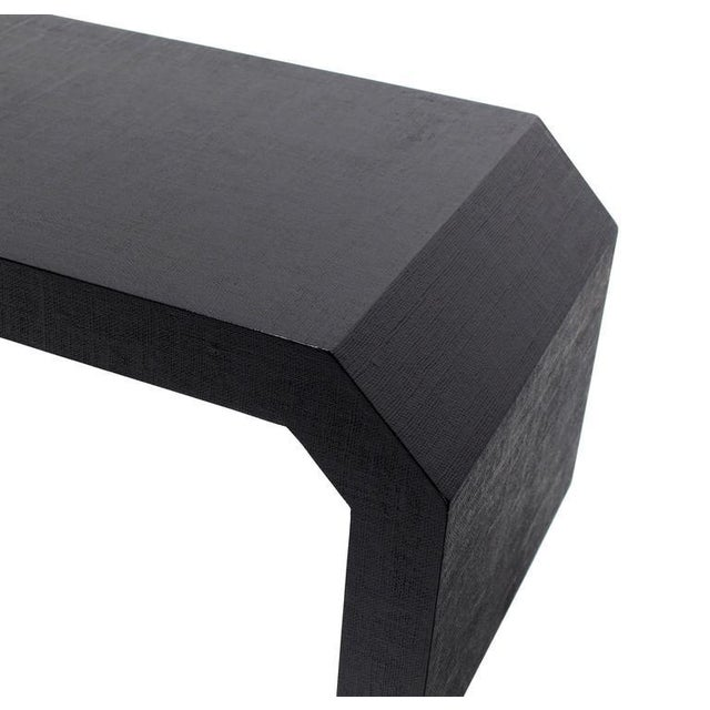 Black Mid-Century Modern Grass Cloth C Shape Coffee Table For Sale - Image 8 of 10