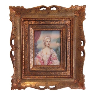 Antique French Aristocrat Miniature Portrait Painting For Sale