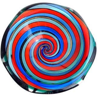 Murano Vintage Red Blue Aqua Optic Swirl Italian Art Glass Mid Century Sculptural Bowl For Sale