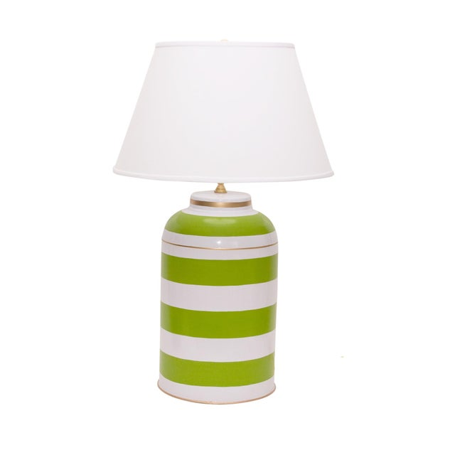 """Clean stripes are a crisp graphic choice for your decor. A lovely apple green. Shade measures 18"""" at widest. Comes with..."""