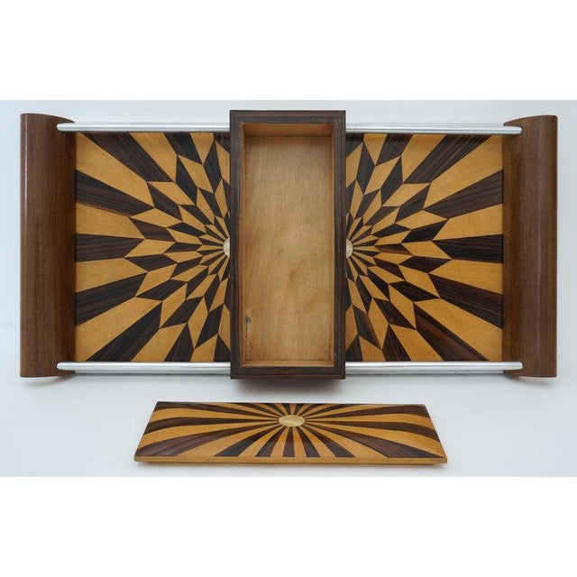 Art Deco 1920s Paul Giordano Paris Serving Tray Exotic Wood Parquet For Sale - Image 4 of 12