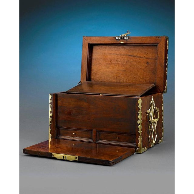 English Traditional 18th Century British Brass Mounted Strong Box For Sale - Image 3 of 5