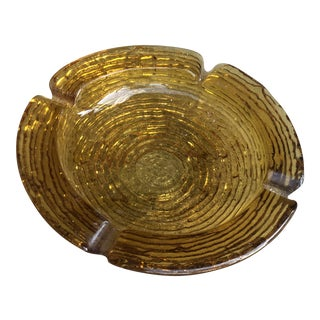 Mid-Century Thick Amber Glass Round Ashtray Catchall For Sale