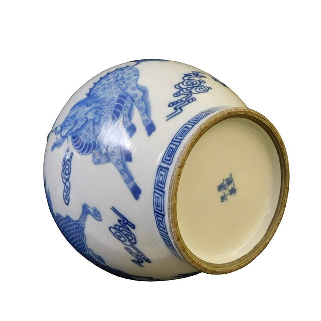 Blue & White Porcelain Kirin Tall Neck Vase For Sale In San Francisco - Image 6 of 7