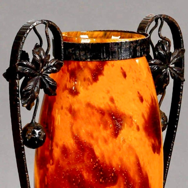 1930s Pair French Tall Signed Delatte Nancy Art Glass and Iron Vases For Sale - Image 5 of 8