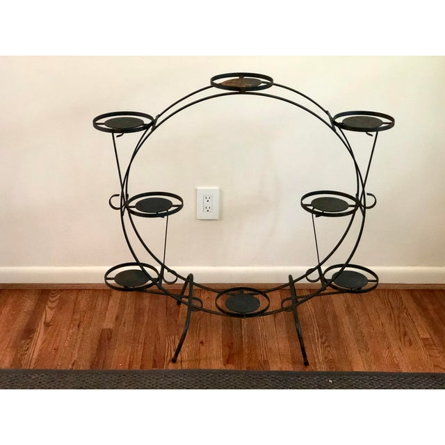 Black 1930s Art Deco Circular Iron Plant Stand For Sale - Image 8 of 11