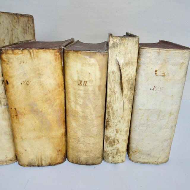 Italian Mid 18th Century Antique Vellum Books Collection- Set of 6 For Sale - Image 3 of 10