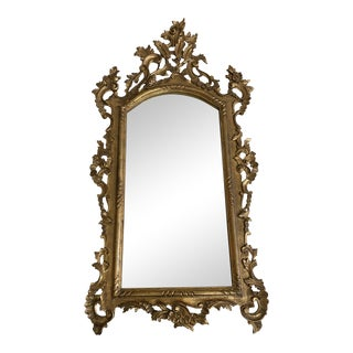 Early 20th Century Italian Antique Gold Finish Gilt Wall Mirror For Sale